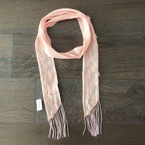Pink Flower Silk Beaded Scarf